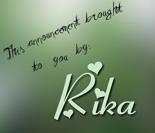 Announcement brought to you by Rika flickr image