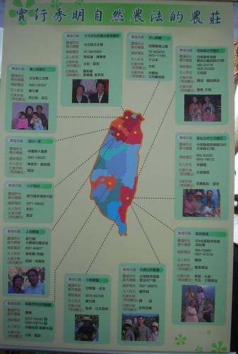 台灣實行秀明自然農法的農莊分佈圖