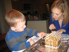 Me and mommy working on the gingerbread house