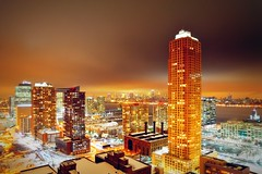 Jersey City (mudpig) Tags: newyorkcity snow newyork storm weather skyline night geotagged newjersey jerseycity cityscape nightscape manhattan newport esb hudsonriver empirestatebuilding trump hdr pavonia trumpplaza mudpig stevekelley