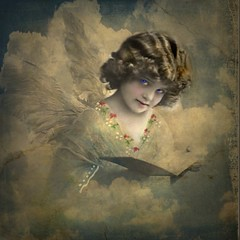 Re-worked Vintage Photo (collage a day) Tags: art collage angel digitalart vintagephoto mixedmediaart vintageart