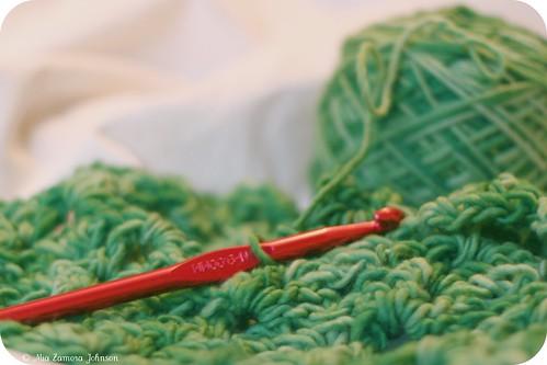 Green malabrigo chevron cowl
