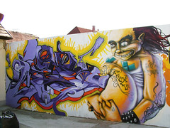 a wall (mrzero) Tags: friends streetart eye art colors face lines yellow wall writing effects graffiti mural paint hungary character eger letters style meeting spray human com styles colored spraypaint graff jam sine cfs mrzero bki obieone