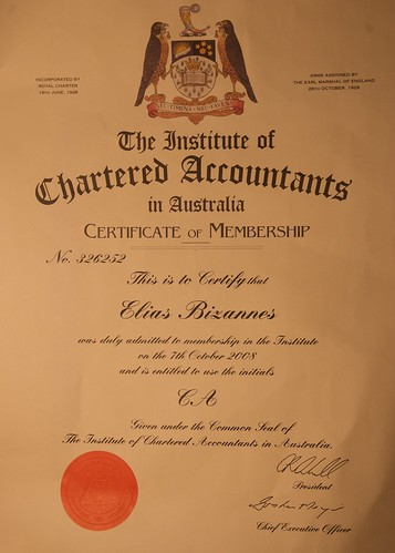 My official certificate recognising admission into the Institute of Chartered Accountants