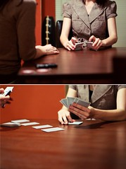 diptych image of girl playing cards