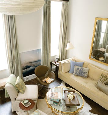 Small spaces: Elegant neutral living room, featured in Domino,house, interior, interior design