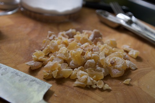 chopping candied ginger