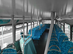 Happy Bus (EveryBodiesDeadDave) Tags: new blue white black bus green buses work logo happy lights cool colours empty cctv pole upstairs seats workplace darkblue lightblue servive 10millionphotos