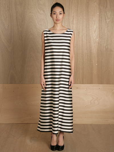 www.ln-cc.com Jil Sander Women's Bloc-Striped Gigantic Gown