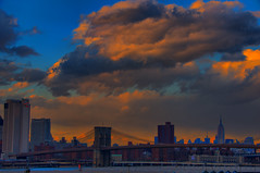 Sunset Over Manhattan and the Brooklyn Bridge (HDR)