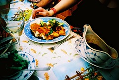 Classic Sunday Lunch (edscoble) Tags: camera london english chicken film table lunch 1 spring potatoes lomo lca xpro lomography xprocess crossprocess sunday slide gravy bowl broccoli roast soviet peas british plates carrots 100 onion russian wimbledon e6 compact automat 128 32mm londonist kompakt minitar foodography