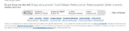 Currys email unsubscribe link