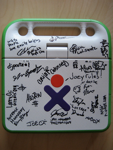 other side of ROFLaptop (XO laptop signed by the geeks of ROFLCon 08)
