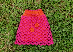 CLEARANCE  Crochet Net Sheepy SKIRT Pink and Orange Soaker
