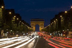 Champs-lyses at night (John_Kennan) Tags: city paris france slr canon dark french eos lights evening traffic roundabout champs nighttime elysees afterdark lighttrail champslyses 40d