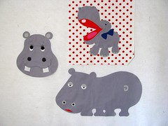 Three hippo appliqués