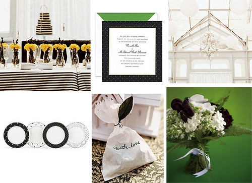 Wedding Wednesday - Green, Black and White por Tastefully Entertaining.