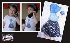 Menina de chapu e flor (Claudia Abbondanza) Tags: cores quilt handmade artesanato tshirt infantil camiseta camisetas tecido bordado aplicao aplicaes customizao termocolante cludiaabbondanza