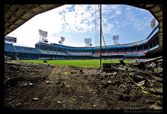 Tiger Stadium Demolition :( (MikeRyu) Tags: shadow sky sunlight classic abandoned colors skyline architecture clouds mi neglect america canon vintage lights dof decay michigan detroit july wideangle demolition depthoffield american historical tigerstadium ballpark 30d 313 detroitmichigan debri motorcity waynecounty canonefs1022mmf3545usm canoneos30d urbanexplorer waynecountybuildings tigerstadium20080712in