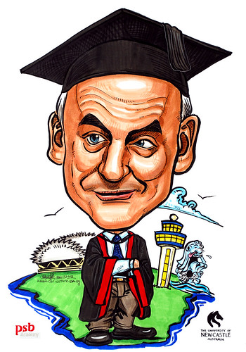Caricature for PSB Academy professor gown mortar board