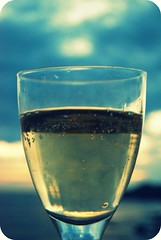 Fizzy (~aspidistra~) Tags: sunset sea holiday glass champagne fizzy