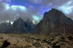 Uli Biaho Tower, Trango Towers and Baltoro Cathedrals (sylweczka) Tags: pakistan mountains holidays glacier karakoram baltoro baltoroglacier sylweczka
