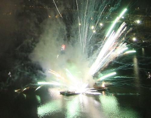 Fireworks barge explosion close-up