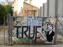 not true (nadie en campaña) Tags: barcelona black true democracy stencil circus roller nadie