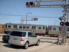 Northbound CTA Yellow line / Skokie Swift train crossing Main Street. Skokie Illinois. April 2007.