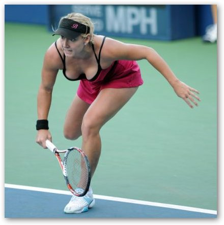 Bethanie Mattek in Red Dress
