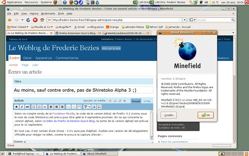 Une préversion béta1 de Shiretoko sous Ubuntu Linux