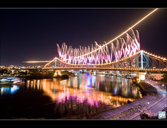 Riverfire Begins (David de Groot) Tags: city canon cityscape fireworks australia brisbane queensland storybridge newfarm pyrotechnics f111 dumpandburn riverfire fueldump 400d riverfire2008 wilsonsoutlook qberiverfire enlightedbridge