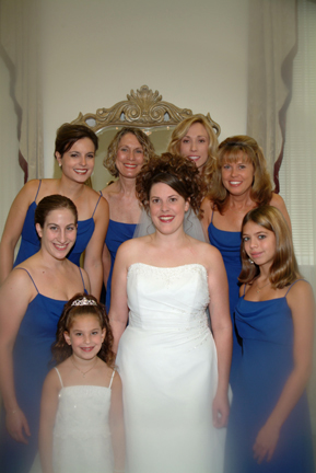 me with bridesmaids in bridal room