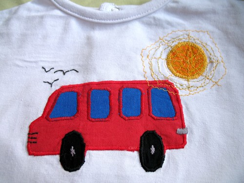 Little bus on a sunny day T-shirt by soja.