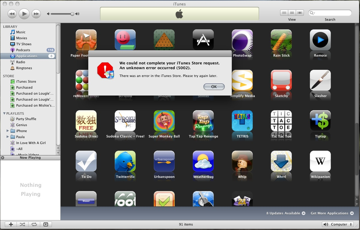 iTunes Error 5002 - Unable to update apps! - MacRumors Forums