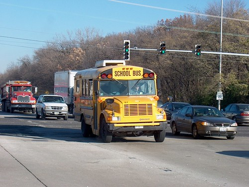 Southbound International school bus at the intersection of 1st and North avenues. Melrose Park Illinois. November 2006. by Eddie from Chicago