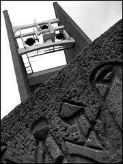 Rtro-modernisme ( CHRISTIAN ) Tags: blackandwhite bw church architecture modern concrete blackwhite montral bell noiretblanc montreal nb moderne glise cloche noirblanc bton mtlguessed gwim stjeanbaptistedelasalle