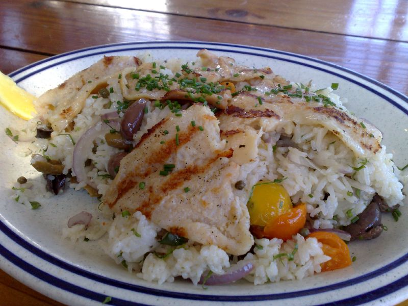 Grilled Surfer Clams over Rice Puttanesca