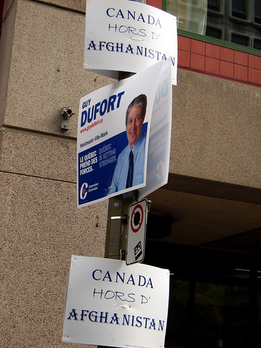 The Conservative candidate, sandwiched by its party's foreign policy