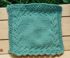Window Box (Poopshe_Bear) Tags: green knitting purple handmade knit handknit vine twist towel dishcloth cotton knitted spa washcloth twisting facecloth