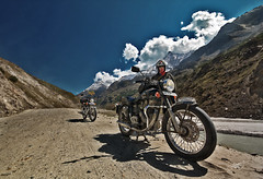Dirt track begins (Motographer) Tags: hp motorcycle bullet himachal himalayas touring mcg royalenfield motography motorcyclegetaways khoksar lb500