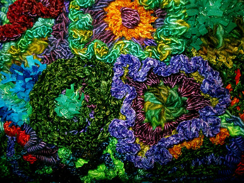 Freeform crochet flowers in handpainted silk yarns