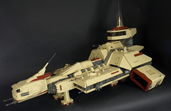 Eb'Cafl11 (Happy Weasel) Tags: big ship lego space alien tan scifi spaceship battleship starship csf moc legospace greebles foitsop ebcafl e8caf1 spacedestroyer seriouslyhugeinvestmentinparts