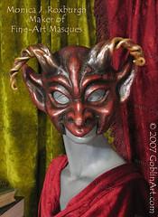 Red devil goblin mask with big horns (goblinart) Tags: art halloween mask horns curly goblin devil goblinart