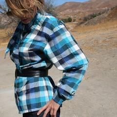 STRIM Vintage (Shop Strim) Tags: fashion shirt vintage clothing women blouse plaid longsleeve buttondown tieneck