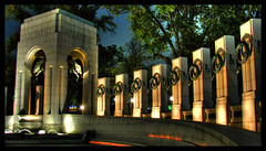 National World War II Memorial From Inside (Kevin Borland) Tags: night washingtondc districtofcolumbia arches northamerica pillars hdr veteransday nationalmemorial nationalworldwariimemorial scoreme43 3px northernarch nationalmallandmemorialparks nationalcapitalparks