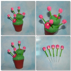 Pink Tulips sewing pins topper (polymer clay) (yifatiii) Tags: pink cactus flower pin sweet sewing felt petal polymerclay fimo cupcake tulip button sculpey flowerpot accessories pincushion etsy topper tls kato varnish millefiori premo polyclay liquidpolymerclay metalsewingpins