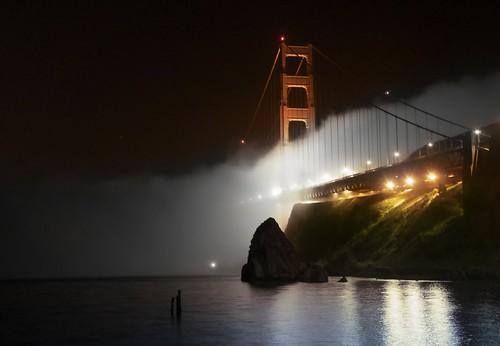 pictures of the golden gate bridge at night. Golden Gate Bridge, Foggy