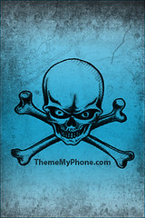 iPhone Wallpaper with Light Blue Skull