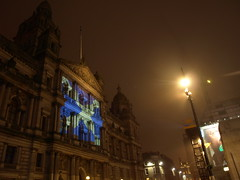 Glasgow City Chambers on St Andrews Day (John Lindie) Tags: city st statue night square george andrews day glasgow hologram celebration chambers gobo saltire